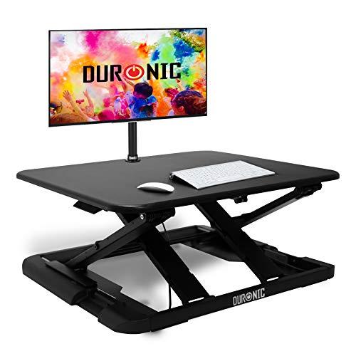Duronic Sit-Stand Desk DM05D20 | Height Adjustable Office Workstation | 74x45cm Platform | Riser for PC Computer Screen, Keyboard, Laptop | 10kg Capacity | Ergonomic Desktop Table Converter…