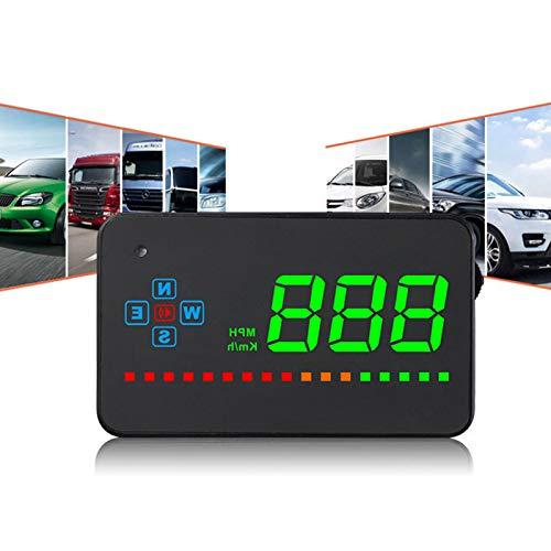 Pantalla HUD Head Up universal con GPS para coche, Proyección HD de advertencia de velocidad OBD MPH, Pantalla Head up multifuncional de nanotecnología, Encendido y apagado automático (8‑18V Negro)