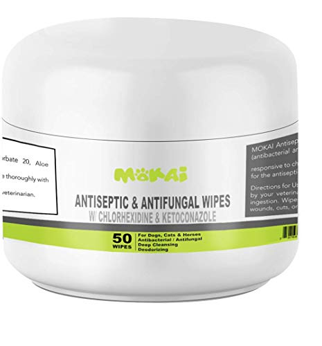 MOKAI Antiseptic Wipes for Dogs Cats and Horses | Dog Chlorhexidine Wipes with Medicated Ketoconazle Antibacterial Antifungal Dermatological Pads Hot Spots Itchy Paws Skin Rashes Dermatitis Ringworm