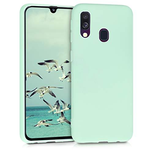 kwmobile Coque Compatible avec Samsung Galaxy A40 - Coque Housse Protectrice pour Téléphone en Silicone Menthe Mat