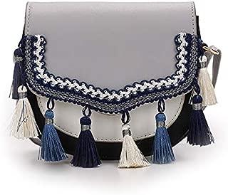 TOOGOO Fringed Retro Small Square Bag National Wind Contrast Color Shoulder Bag Crossbody Bag White