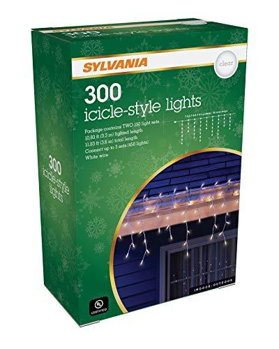 SYLVANIA Icicle Christmas Lights, Clear
