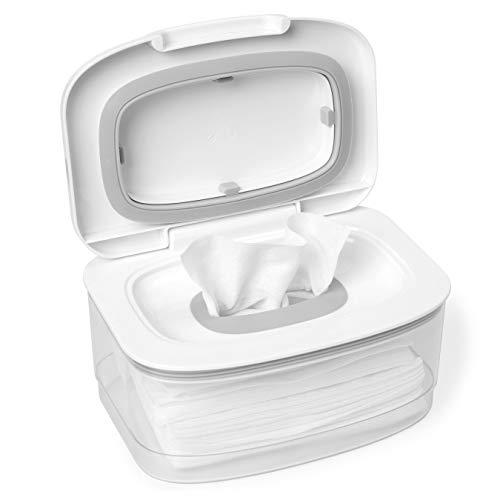 Skip Hop Dispensador de lenços com tampa segura de vedação de umidade, branco