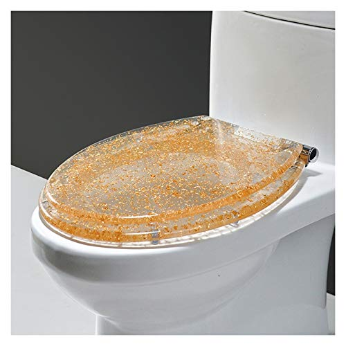 Asiento de inodoro de cierre suave con liberación rápida para una limpieza fácil, fijación superior simple, asientos de inodoro estándar con bisagras ajustables, 42 x 34 cm (Color : D)