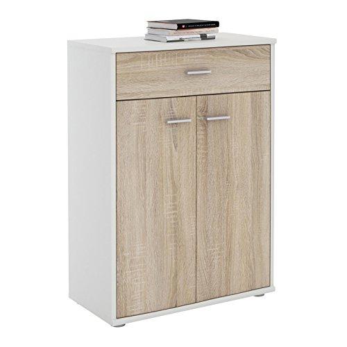 IDIMEX Buffet Calais, Commode Meuble de Rangement avec 1 tiroir et 2 Portes, en mélaminé Blanc Mat et décor chêne Sonoma