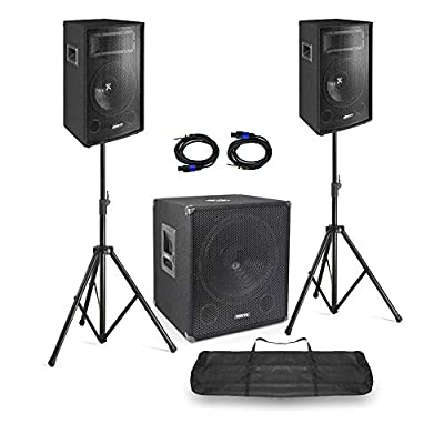 """VONYX DJ Speakers and Subwoofer Mobile Disco Set 15"""" Woofer 10"""" Tops with Stands, Bag"""
