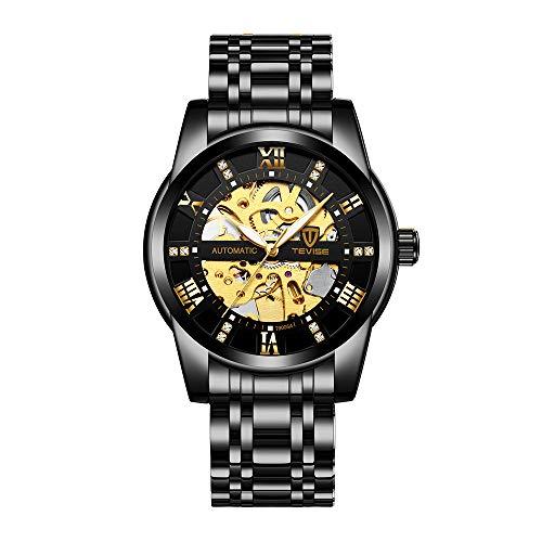 TEVISE Herren Automatische Selbstwinduhr Mechanische Geschäftsuhren Hohle Stahl Armbanduhren