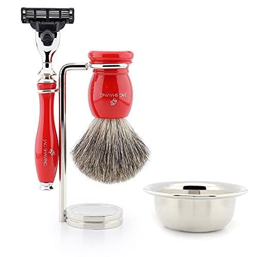 Jag Shaving - Juego de afeitado con brocha de pelo de tejón y soporte de acero inoxidable para afeitar, color rojo