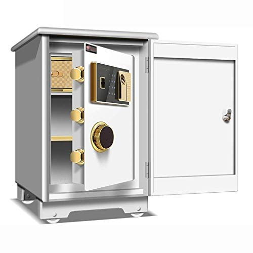 Safe with Medium Fingerprint Anti-Theft Safe Small All-Steel Safe Wall-Mounted Safe (Color: White, Size: 38 X 31.8 X 28.5cm) (Color : B)
