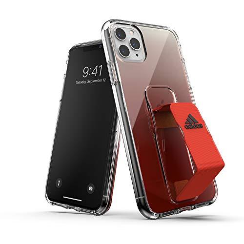 adidas Deportes diseñados para iPhone 11 Pro MAX Clear Case con Soporte de Agarre - Solar Red