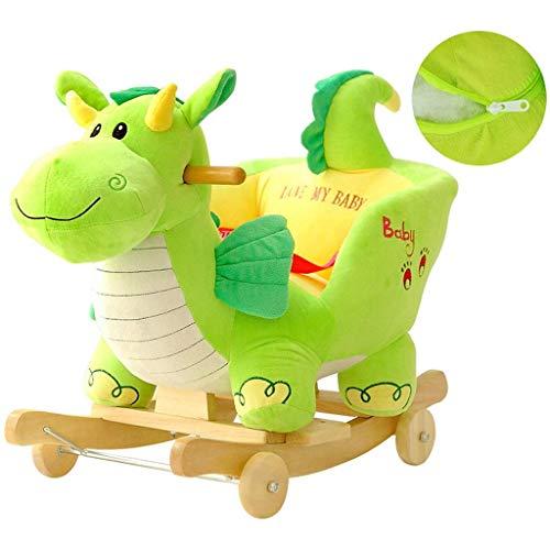 LLLKKK Caballo balancín de juguete para educación temprana, dinosaurio, música, mecedora, mecedora, regalo, luces LED