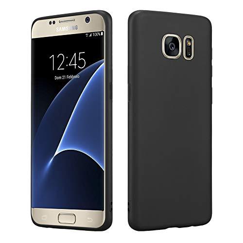 HSP Matt Schwarze Hülle kompatibel mit Samsung Galaxy S7 | Premium TPU (Silikon) Case | Geeignet für Induktives Laden | Passgenaue, dünne Schutzhülle
