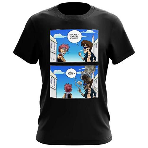 Okiwoki T-Shirt Homme Noir Parodie Fairy Tail - Natsu Dragnir - Hey mec, t'as Pas du feu ? (T-Shirt de qualité Premium de Taille M - imprimé en France)