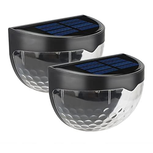 2 piezas impermeable semicircular valla luz 6 LED gota de agua luz duradera negro Shell luz blanca 91 * 50 * 65 mm