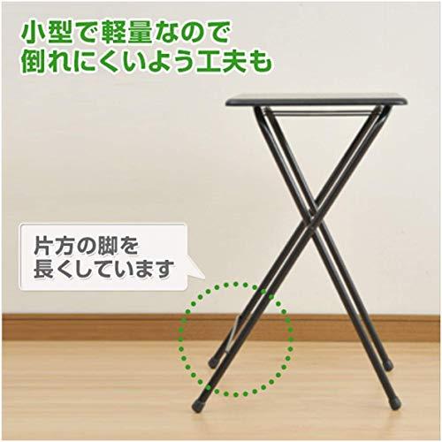 [山善]テーブルミニ折りたたみ式サイドテーブル幅50×奥行48×高さ70cmハイタイプナチュラルメイプル/アイボリーYST-5040H(NM/IV)