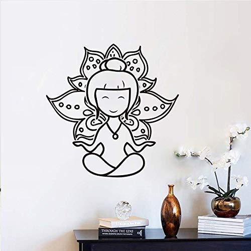 Blrpbc Adhesivos Pared Pegatinas de Pared Decoración del hogar de Vinilo extraíble con Corte de Loto de Yoga y meditación Divertida para Sala de Estar Moderna 57x57cm