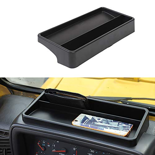 JeCar Dashboard Storage Tray Dash Console Storage Box for 1997-2006 Jeep Wrangler TJ & Unlimited, Black