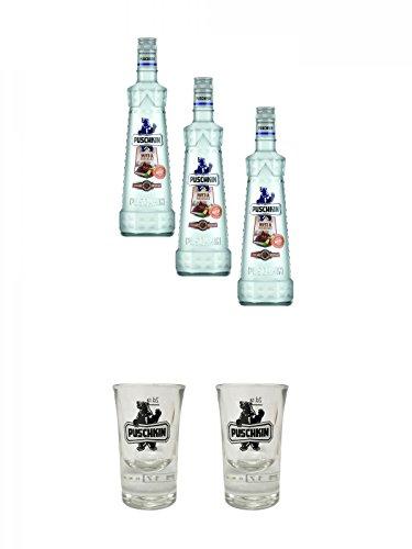 Puschkin Nuts & Nougat 3 x 0,7 Liter + Puschkin Shotglas mit Eichstrich 2cl + Puschkin Shotglas mit Eichstrich 2cl