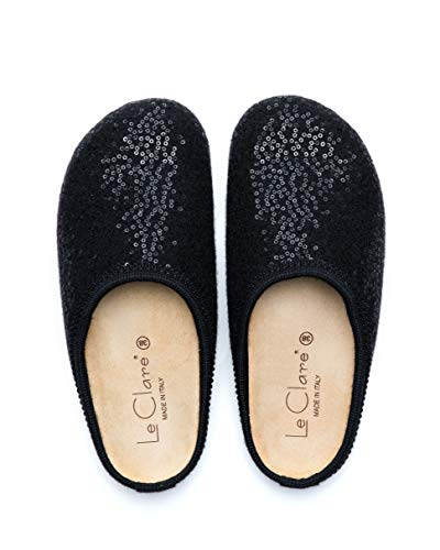 Le Clare Nebraska Shine Black Wool Felt Clog House Slippers for Women with Arch Support Cork Insole Indoor Outdoor Sole Size 10, IT 40