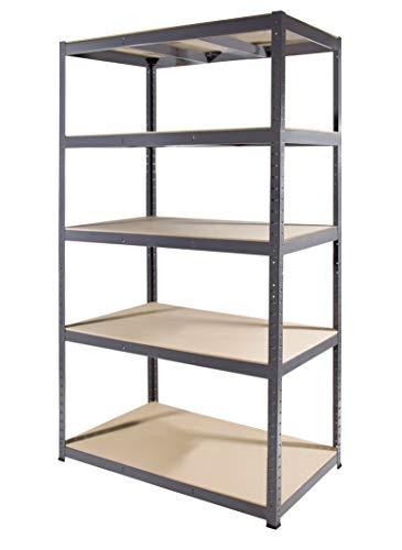 Storage Affairs Heavy Duty Garage Shelving | 180cm High x 90 Wide x 60 Deep | Grey Storage Shelves 265kg UDL | 1 Unit, 5 MDF Tiers, Steel Frame Boltless Assembly | Metal Racks (1)