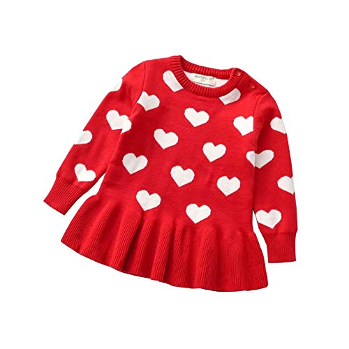 Toddler Baby Girl Valentine Dress Kids Heart Long Sleeve Knit Sweater Dress Pleated Dress Fall Winter Warm Outfits (Red, 18-24 Months)