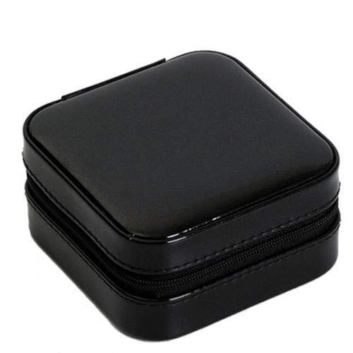 Portable Travel Jewelry Box Organizer Jewelry Ornaments Storage Case Earring Ring Necklace Storage Box Valentine's Day Gift - Black