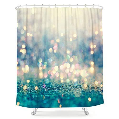 LIGHTINHOME Duschvorhang, glitzernd, 183 x 213 cm, abstraktes goldenes Bokeh Punktemuster, Stoff, wasserdicht, Heim-Badewannen-Dekoration, 12 Stück, Kunststoffhaken