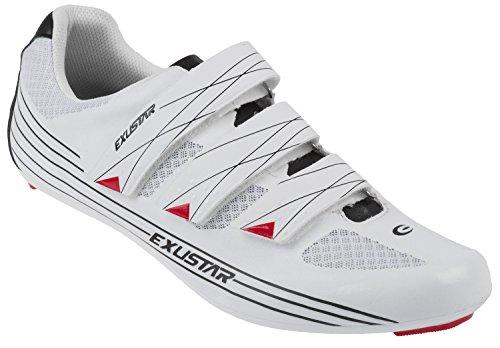 Exustar Unisex e-sr463a Carretera Carrera Bicicleta Zapatos, Color Blanco/Plata, Talla 44