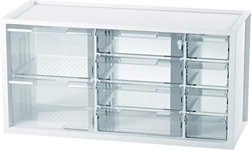 livinbox パーツキャビネット 小物キャビネット 工具箱 小物や雑貨収納 多目的収納 10引き出し-ホワイト
