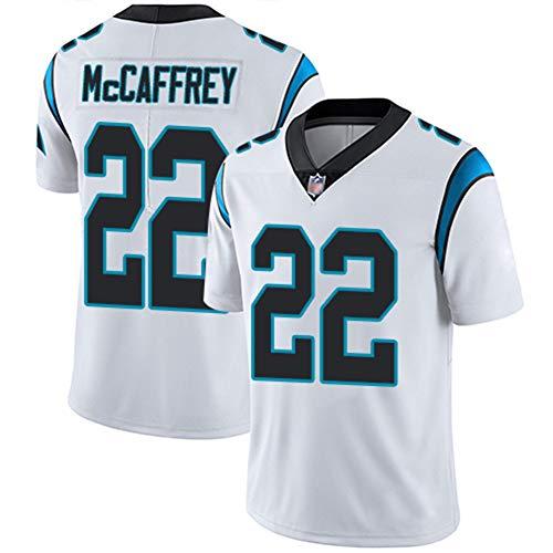 LAVATA Männer Rugby Jersey Fußball-T-Shirt Carolina Panthers 22# Christian McCaffrey Unisex Rugby Uniform Fans T-Shirts Print Top Kurzarm Für Männer