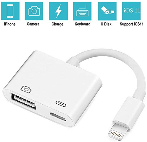 ASEDRF Lightning to USB Camera Adapter - Lightning to USB Female OTG Adapter Cable with USB Power Interface Data Sync Charging Interface for iPhone Ipad