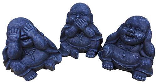 N / A 3er Set Mini Buddha Nichts sehen hören Sagen je 9 x 8 cm Mönch Figur Deko Asien Garten Trend E239