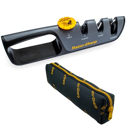 RAZORSHARP Knife Sharpener. Convenient Angle Adjustment Knob For All Knives. Sharpen And Polish, Diamond, Ceramic, Extra Sturdy Grip With Rubber Base.