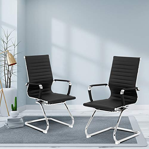 VINGLI 2 Pack Office Chair No Wheels, Heavy Duty PU Leather Office Chair, Office Guest Chairs & Reception Chairs, Conference Room Chairs, Conference Chair Set Waiting Room Chairs with Arms Sled Chairs