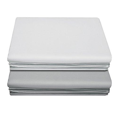 LiveComfort - 2 draps plats - Extra doux - Draps en microfibre brossé - Lavable en machine - Sans pli - Respirant, White+pale Grey, Queen Size