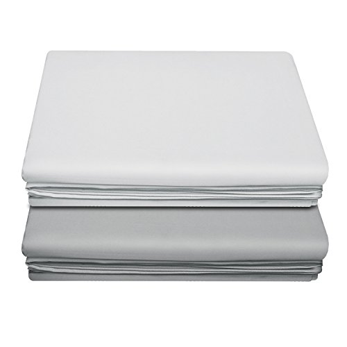 LiveComfort Flat Sheet, Queen Size Extra Soft Brushed Microfiber Flat Sheet, Machine Washable Wrinkle Free Breathable (White+Pale Grey, Queen)