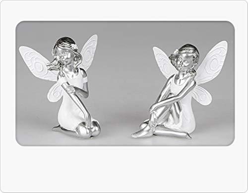 Niedliche Elfe sitzend edles weiß silber Design Zierfigur Dekofigur Elfenfigur