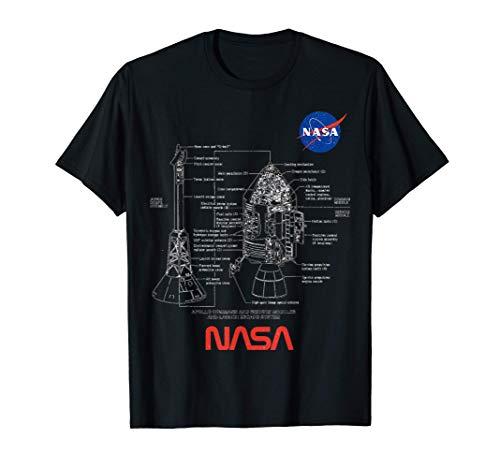 NASA Apollo Disegni Tecnici E Schemi Del Progetto Astronave Maglietta