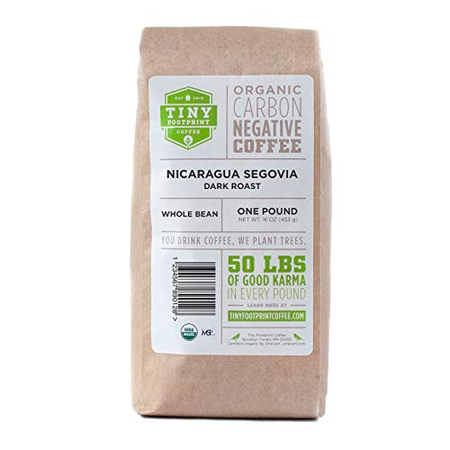 Tiny Footprint Coffee - Fair Trade Organic Nicaragua Segovia Dark Roast |Whole Bean Coffee | USDA Organic | Fair Trade Certified | Carbon Negative | 16 Ounce
