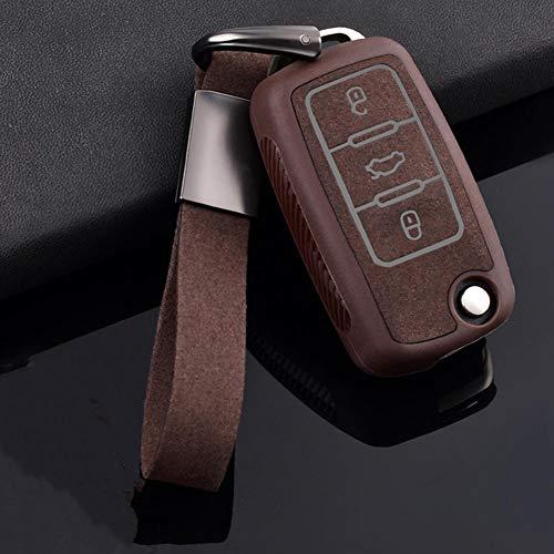 SAXTZDS Cubierta de Cuero para Llave de Coche, Apta para VW Volkswagen Polo Jetta Golf MK6 TDI GTI R32 Asiento