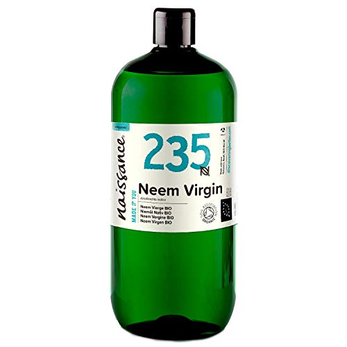 Naissance Organic Cold-Pressed Virgin Neem (no. 235) 1 Litre - Pure, Natural, Unrefined, Certified Organic, Vegan, No GMO