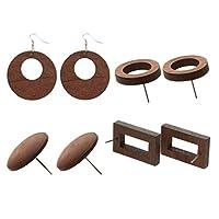 4ペア 木製 スタッド ピアス レディース シンプル 長方形 ラウンド ブラウン 耳飾り ギフト