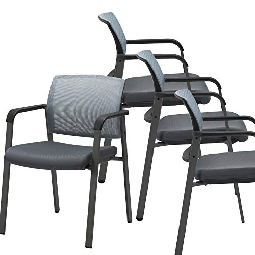 CLATINA Mesh Back Stacking Arm Chairs with Upholstered Fabric Seat and Ergonomic Lumber Support for Office School Church Guest Reception Grey (Gray-4 Pack)