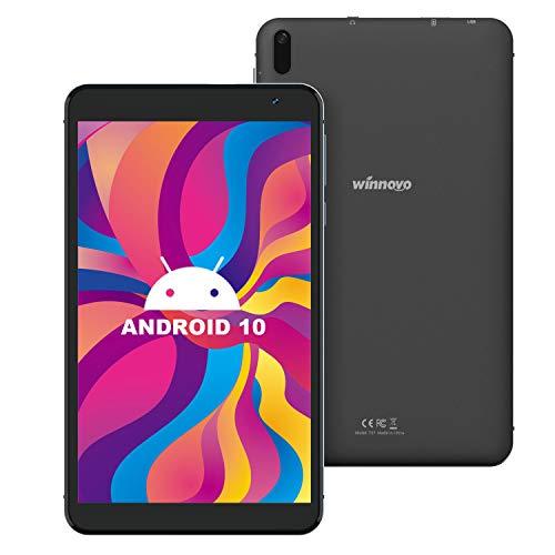 7-Inch Tablet Android 10.0 - Winnovo Quad-Core Processor 32GB Storage HD IPS Display 8MP Rear Camera WiFi Bluetooth GPS FM (Black).