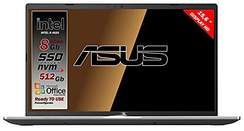 Asus Vivobook notebook, Ssd M.2 Nvme pci da 512Gb, Cpu Intel N4020 fino a 2.8Ghz, 8Gb ddr4, Display da 15,6 hd, wi-fi, 4 Usb, Bt, hdmi, webcam, Win 10 pro, Office 2019 Pro, Preconfigurato Gar. Italia