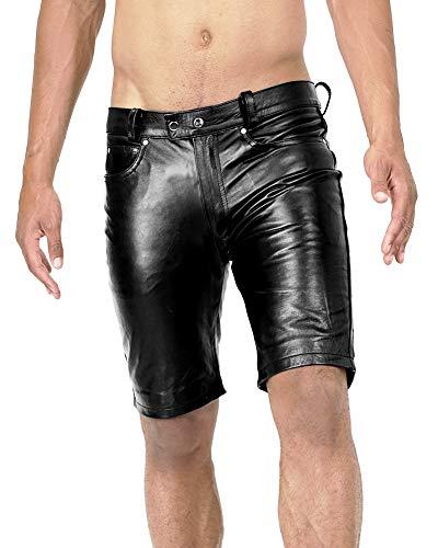 Bockle® Shine Shorts Lederhose Herren Leder Shorts Pants Kurze Lederhose, Size: W42/L36