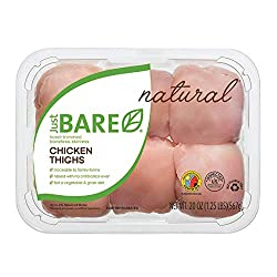 Just BARE Natural Fresh Chicken Thighs | Antibiotic Free | Boneless | Skinless | 1.25 LB