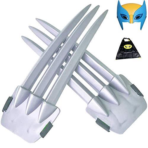 HYE 2 Piezas de 1 par de Garras de Wolverine, Garras de plstico con mscara para nios, Capa de Wolverine Accesorios para Disfraces de Wolverine Garra de 20 cm / 7,87 in