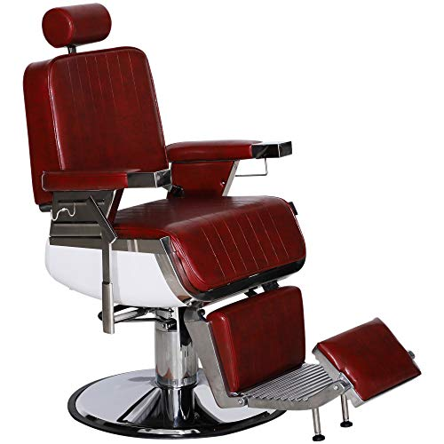 BarberPub Heavy Duty Metal Vintage Barber Chair All Purpose Hydraulic Recline Salon Beauty Spa Styling Equipment (Burgundy)