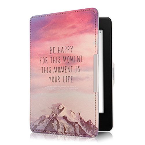 kwmobile Klapphülle kompatibel mit Amazon Kindle Paperwhite - Hülle eReader (für Modelle bis 2017) - Be Happy Rosa Violett Koralle
